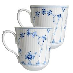 Blue Fluted Plain 12.5 oz. Mugs