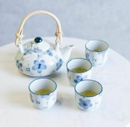 Blue Japanese Cherry Blossom Flowers Design Porcelain Tea Po