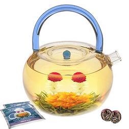 Blue Rainbow Glass Teapot Kettle Set w/ 2 Flowering Teas