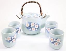 """6"""" Blue Spring Flower Japanese Ceramic Tetsubin Teapot & Tea"""