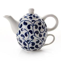 Blue and White Tea Set for One