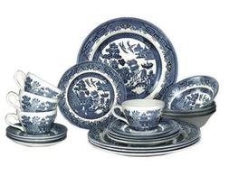 BLUE WILLOW TEA/DINNER SET 20 PIECE NEW BY CHURCHILL CHINA T