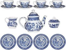Churchill Blue Willow 15 Piece Tea Set