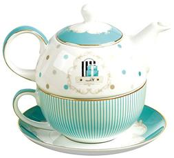 Jusalpha Bone China Blue Teapot and Server Set for One, Teap