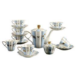 Bone China Ceramic 15-Piece Chinese Auspicious Patterns Tea