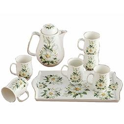 Bone China Ceramic 8-Piece Tea Set Coffee Set,Camellia,White