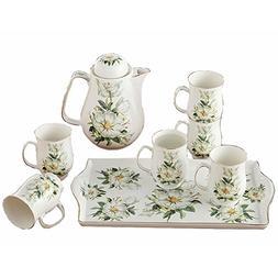 Bone China Ceramic 8-Piece Tea Set Coffee Set,Camellia,White