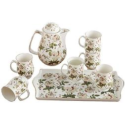 Bone China Ceramic 8-Piece Tea Set Coffee Set,Flower,Red And