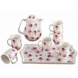 Bone China Ceramic 8-Piece Tea Set Coffee Set,Orchid,Red