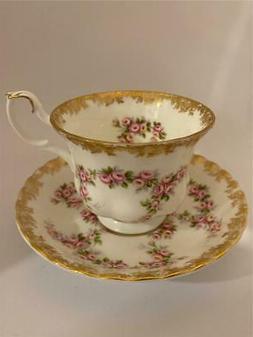 Royal Albert Bone China DIMITY ROSE Tea Cup and Saucer Set