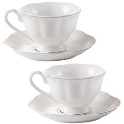New Bone China Porcelain Tea Cup and Saucer 6 OZ Embossed Fl