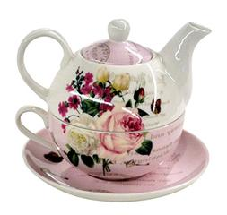 Botanical Pink Butterfly 4 Piece Tea for One Set S16645B-PIN