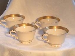 BLOCK Bracelet Old Ivory 4 tea cups china set lined Gold/Whi