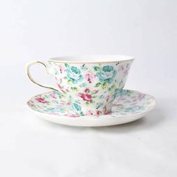Elegance Brand Coffee Tea Cup Set Floral Spring Pattern Blue