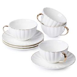 BTäT- Tea Cups and Saucers, Set of 4  with Gold Trim and Gi