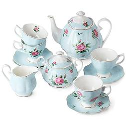 BTäT- Floral Tea Set, Tea cups , Tea Pot , Creamer and Suga