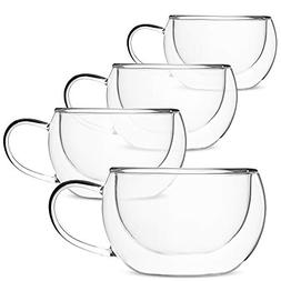 BTäT- Insulated Coffee Cups, Set of 4 , Double Wall Glass T