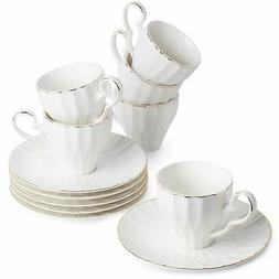 BTäT- Tea Cups and Saucers, Set of 6  with Gold Trim and Gi