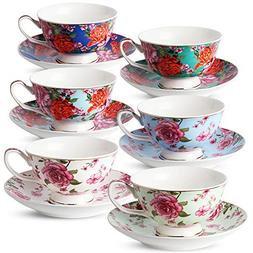 BTäT- Floral Tea Cups and Saucers, Set of 6  with Gold Trim
