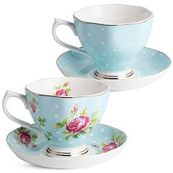 BTäT- Floral Tea Cups and Saucers, Set of 2  with Gold Trim
