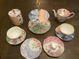 "Wedgwood ""Butterfly Bloom"" Tea Party Set - Rare Caddy, Cake"