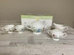 Lenox Butterfly Meadow 7 Piece Tea Set Service For 2