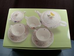 Lenox Butterfly Meadow 9 Piece Tea Set Teapot Creamer Sugar