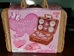 Schylling. Butterfly Tea Set Basket Kids Girls Ceramic  Tea