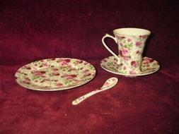 Caldo Freddo Porcelain Tea Set NIB Pink Roses Gold Trim