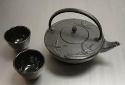 Cast Iron Tea Pot Tea Set Crane Black 3 pc Set S-2499+2123x2