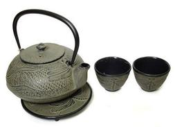 JapanBargain Cast Iron Tea Set Dragonfly Earth Color 24 oz
