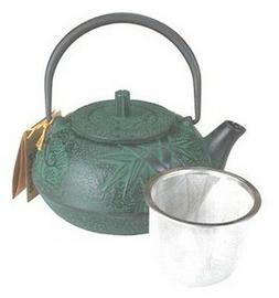 Cast Iron Teapot Tea Pot Tetsubin Kettle 18 oz Green Bamboo