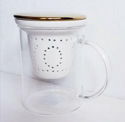 Teavana Ceramic Joy Infuser Glass Tea Mug With Gold Lid / Co