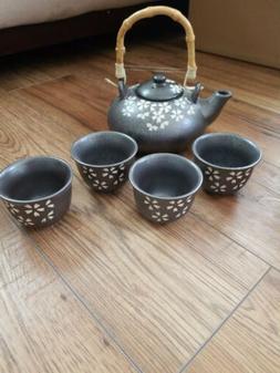"""Ceramic """"Metal Look"""" Tea Set With Tea Pot And 4 Cups"""