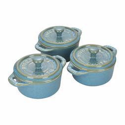 Staub Ceramic 3-pc Mini Round Cocotte Set - Rustic Turquoise
