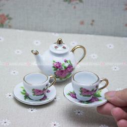 Ceramic miniature Tea set for Dolls Picnic Pretend Play Girl
