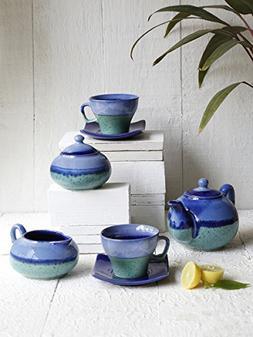 Ceramic Morning Tea Set Infuser Maker Blue 7 PCS with Tea Mi