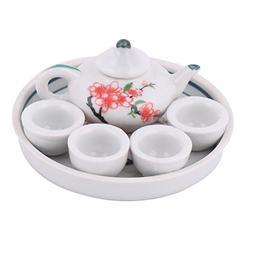 uxcell Ceramic Plum Flower Printed Mini Plate Teapot Cup Tea