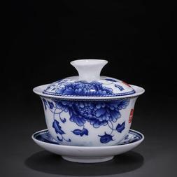 Ceramic Sancai Gaiwan 150ml Blue and White Porcelain Floral