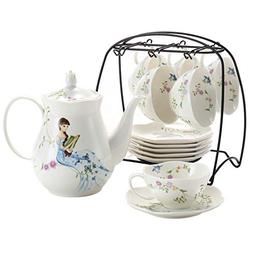 Ceramic Tea Cup Set, including 6 pcs Tea Cup and Saucer with