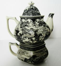 Ceramic Tea for One Teapot and Cup Stacked Black & Cream Pas