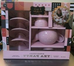 Ceramic Tea Party Set For Kids PINK Polka Dot 9 PC FREE SHIP