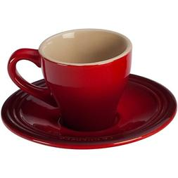 Le Creuset Cherry Stoneware Espresso Cups And Saucers