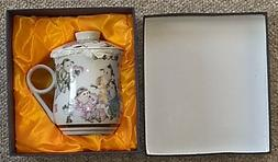 Chiinese Porcelain Tea Cup w/Infuser Strainer - 3 piece set