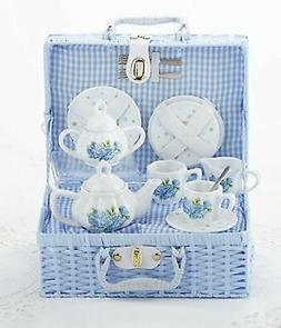 Delton Child's Porcelain Tea Set for 2 in Wicker Basket Hydr