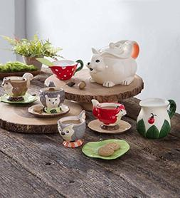 Children's Food Safe Ceramic Woodland Friends 12 Piece Tea S