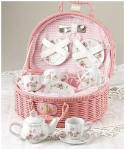 Children's KIds Porcelain Tea Set for 2-Pink Birds & Birdhou
