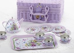 Delton Children's Tin Tea Set in Basket, 15 Pcs, Pansy