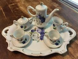 Child's Tea Set, 10 Pieces, Purple Roses W/Gold Trim, With