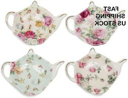 China Tea Bag Caddy Holder, Set of 4  Teapot Shaped Tea Bag